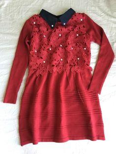 NEW Womens Fashion Korean Red Lace Floral Jeweled Sweat Shirt Dress XS | eBay