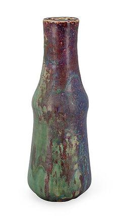 Toini Muona 1904-1987 A CERAMIC VASE. (d)  Signed TM. Arabia. 1940s. Copper glaze. Height 31,5 cm.