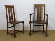 Set of 8 Arts & Crafts Dining Chairs by Liberty & Material: oak Condition: Restored. Seats reupholstered. Circa 1905