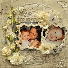 Gorgeous Heaven Sent Page...with framed photos and flowers.