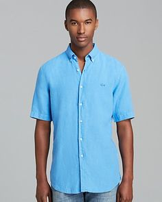 Lacoste Linen Short Sleeve Sport Shirt - Regular Fit | Bloomingdale's