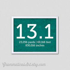 Running Half Marathon Print 13.1 with Yards Feet Inches Runner Gifts Runner's Gift on Etsy, $18.00