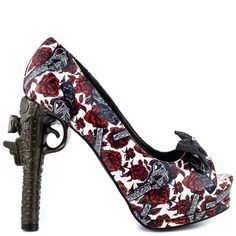 Guns N Roses pump by Too Fast!  This unique style features a gun and rose printed patent upper with peep toe and 1 inch platform.  Last but not least a gun creates the 5 inch thick heel.