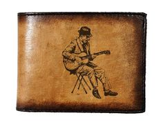 Mens Bifold Leather Wallet  Vintage Guitarist by joevleather, $24.99