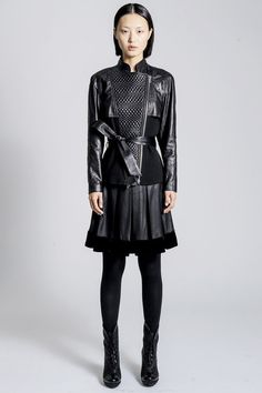 Black Leather Skirtsuit Fashion Trend for Fall Winter 2013 I#DressingwithBarbie