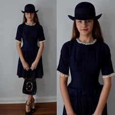 A personal favorite from my Etsy shop https://www.etsy.com/ca/listing/264367472/vintage-dress-1950s-1950s-navy-blue