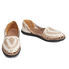 Beige Woven Leather Huarache Sandal from IX Style