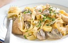 Pasta with Smoked Chicken and Mushrooms Recipe