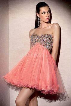Baby Doll  Prom Dress, short prom dress, red prom dress