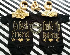 Black+and+Gold+Glitter+Go+Best+Baby+Girl+and+Little+Girl+Best+Friend+Shirts