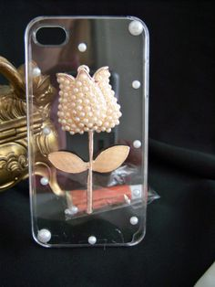 Fits iPhone 4s Phone Case Skin Tulip Simulated Pearls Gold Tone Simple Classic LAST ONE!