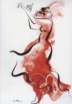 Danse II Poster Print by Helene La Haye People Art Music Dance Modern Figurative Portraits Women Flamenco