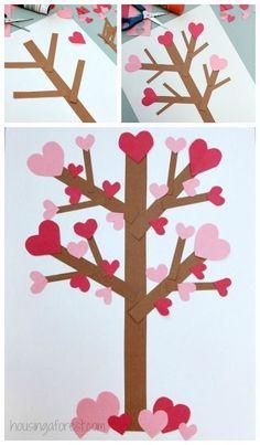 Flowering Heart Tree. Valentine's Day paper tree craft.