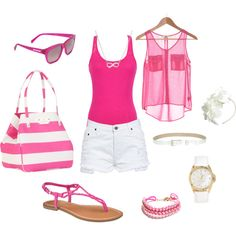 """""""Pink & White Summer"""" by shellytot on Polyvore"""