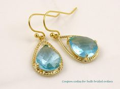 Gold Aqua Earrings, Beach Wedding Jewelry, Bridesmaid Gift for Bridesmaids, Maid of Honor Gift for Best Friend Gift Idea, Delicate Jewelry