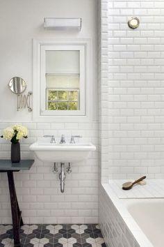 Bathroom: Beautiful White Ceramic Subway Tile Bathroom With Stunning White Bathroom Design Ideas from Beautiful Subway Tile Bathroom Bathroom Renos, Laundry In Bathroom, Bathroom Ideas, Modern Bathroom, Bathroom Wall, White Bathrooms, Bathroom Renovations, Bathroom Tiling, Bathroom Designs
