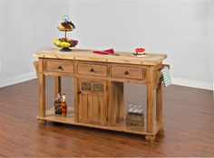 Sedona Rustic Oak Wood Kitchen Island Table | Kitchen, Dining & Bars | The Classy Home | Best Deal Furniture