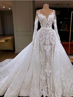 A-line Princess Heart Neck Long Sleeve Lace Long Bridal Dresses LU1865
