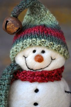 Wool Needle Felted Snowman #Christmas