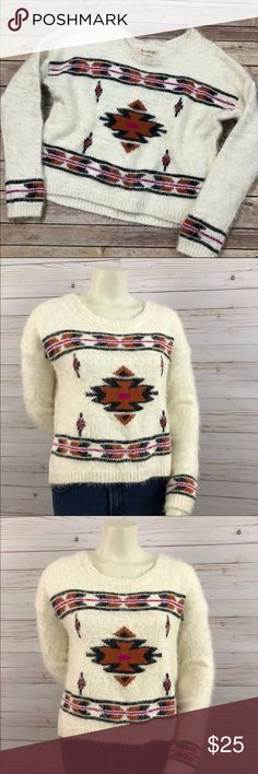 NWT Billabong fuzzy tribal sweater NWT billabong Fuzzy long sleeve sweater with scoop neck. Cream with a tribal/Aztec print. Billabong Sweaters