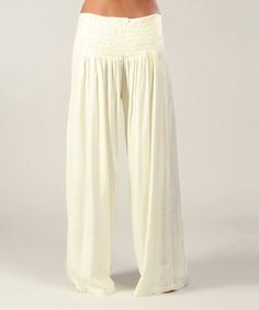 Look at this #zulilyfind! Cream Shirred Palazzo Pants by Aller Simplement #zulilyfinds