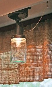Mason jar light fixture and other rustic home ideas