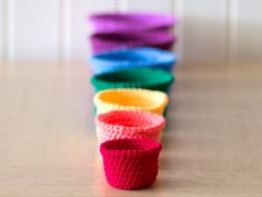 Tutorial: rainbow crocheted nesting baskets. Lovely!