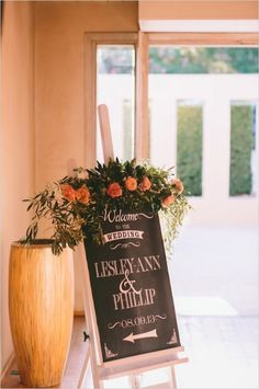welcome wedding sign with flowers