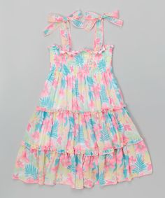 Look at this #zulilyfind! White & Teal Floral Smocked Dress - Toddler & Girls #zulilyfinds