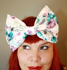 Big Bow Headband Pink Floral by OhHoneyHush on Etsy,