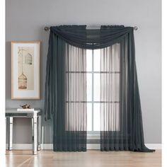 Window Elements Diamond Sheer Voile 56 in. W x 216 in. L Curtain Scarf in Black