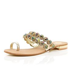 5672b3bbcc026b Gold gemstone embellished toe loop sandal - Sandals - Shoes   Boots - women