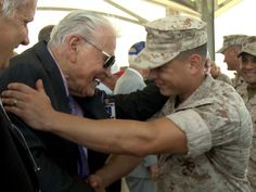 Veteran Marine Raider meets one of the first Marines to be called a Raider since the 1940s. So much valor in one photo.