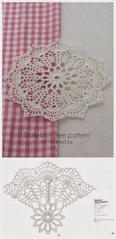 Crochet Coasters Pattern Ganchillo 44 New Ideas Filet Crochet, Mandala Au Crochet, Free Crochet Doily Patterns, Crochet Doily Diagram, Crochet Chart, Crochet Squares, Thread Crochet, Crochet Motif, Crochet Stitches