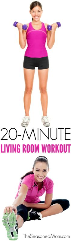 A 20-Minute Living Room Workout is the perfect exercise routine to burn fat, gain strength, and get your heart rate up when you can't leave the house!