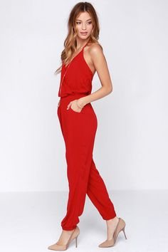 Learning to Fly Red Jumpsuit at Lulus.com!
