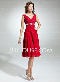 Mother of the Bride Dresses - $126.99 - Empire V-neck Knee-Length Chiffon Charmeuse Lace Mother of the Bride Dress With Beading Appliques (008005639) http://jjshouse.com/Empire-V-Neck-Knee-Length-Chiffon-Charmeuse-Lace-Mother-Of-The-Bride-Dress-With-Beading-Appliques-008005639-g5639