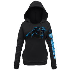 Women's Carolina Panthers 5th and Ocean by New Era Black Snap Count Pullover Hoodie