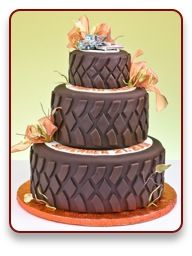 Amazing cakes. Love the tire tread (minus the flowers) for a boy's party.