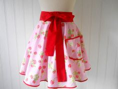 Retro frilly hostess apron floral and fruity by RetroRuffleAprons, Aprons, Ireland, High Waisted Skirt, Trending Outfits, Crafty, Unique Jewelry, Retro, Handmade Gifts, Floral