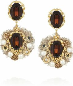 Dolce and Gabbana Gold-Tone Crystal and Faux Pearl Clip Earrings Dolce And Gabbana  Earrings 411ac743bf8