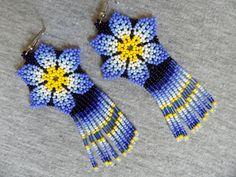 Huichol Flower Earrings Blue Yellow by ManoDeGato on Etsy