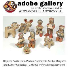 10-piece Santa Clara Pueblo Nacimiento Set by Margaret and Luther Gutierrez - C3855A #adobegallery #SouthwestIndianPottery #SantaClaraPuebloPottery #SouthwestIndianArt #PuebloPottery #Nacimiento