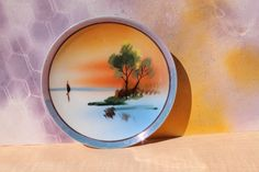 Hand Painted Decorative Plate Water Landscape, Made in Japan, 6""