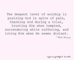 Amen. Also, I've found that remembering those times during a worship service is one of the best ways to drive deep the meaning of the words I'm singing.