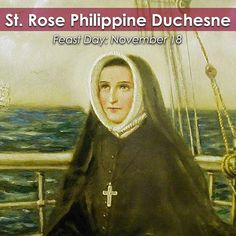 """We cultivate a very small field for #Christ, but we love it, knowing that God does not require great achievements but a heart that holds back nothing for self.... The truest crosses are those we do not choose ourselves.... He who has Jesus has everything."" -St. Rose Philippine Duchesne  Join the @cathapostlectr  in commemorating the #FeastDay of St. #RosePhilippineDuchesne! #saint #Catholic #Christian #Jesus"