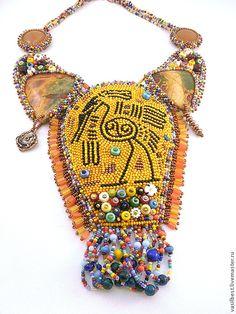 Купить Колье Ибис - разноцветный, африка, ибис, священная птица, песочный, яшма…