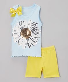 This Light Blue Daisy Tank & Yellow Shorts - Toddler & Girls by Beary Basics is perfect! #zulilyfinds