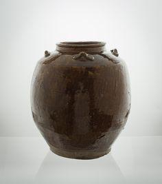 "Southeast Asian ""Martaban"" jar with tenmoku glaze, 15th-16th century. 34 cm in height, ca 32cm across."