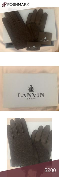 LANVIN New  Cashmere Nappa Lambskin Men's Gloves Brand New, Good for coming Father's Day, perfect gift for boyfriend& hubby!!! Elegant and Warm. Only one pair!!! Lanvin Accessories Gloves & Mittens